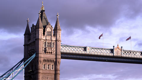 Panning view of tops of towers on Tower Bridge in London, England Footage