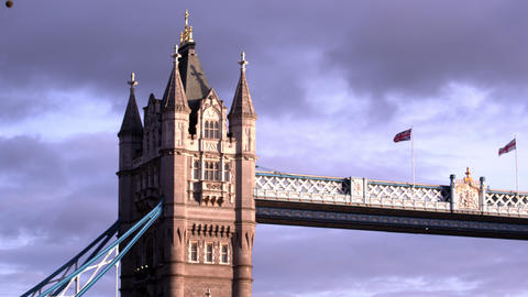 Close up low angle view of the top of one of the towers on Tower Bridge in Londo Footage