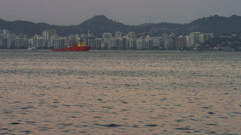 Static shot of an evening view of the Rio coastline Footage