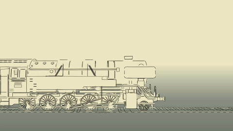 Old steam engine train cartoon sketch animation Animation