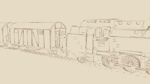 Steam train vintage sketch cartoon animation Animation