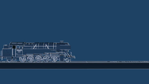 Retro steam train blueprint cartoon animation Animation