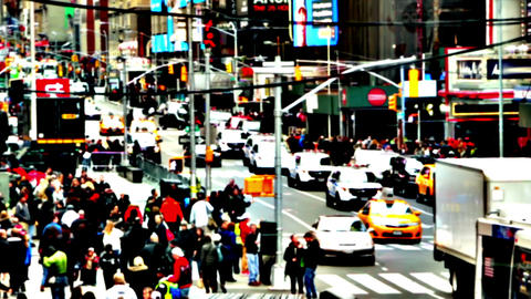 Traffic and Crowd. Super High Contrast. Fast Motion Footage