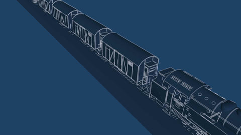 Steam freight train cartoon blueprint animation Animation