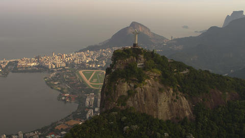 Helicopter footage of Christ the Redeemer Statue and Lagoa Footage