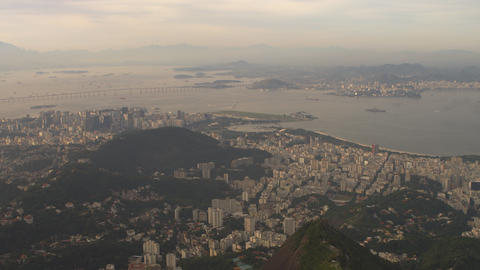 Aerial shot of Rio de Janeiro and bridge crossing the Atlantic Footage