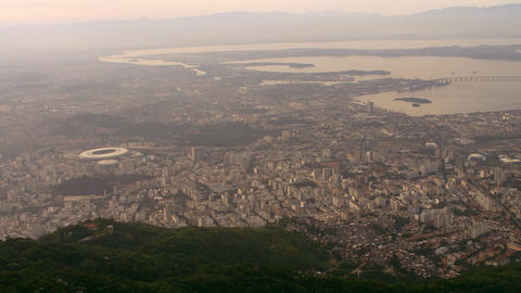 Helicopter footage of geography, cityscape, and Atlantic Ocean - Rio de Janeiro, Footage