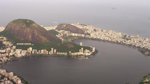 Aeiral Pan of Lagoa and surrounding city - Rio de Janeiro, Brazil Footage