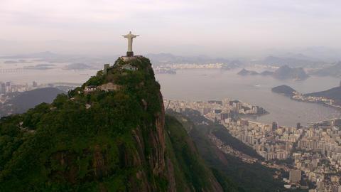 Famous Rio de Janeiro Landmark - Christ the Redeemer Statue - aerial footage Footage