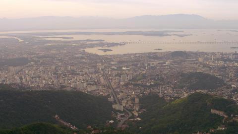 Aerial shot of urban planning and roadways - Rio de Janeiro, Brazil Footage