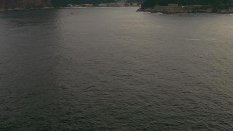 Aerial pan of ocean - Rio de Janeiro, Brazil Live Action