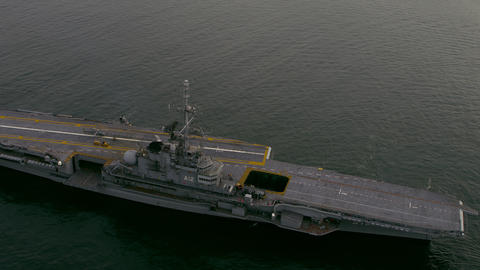 Aerial view of aircraft carrier Footage