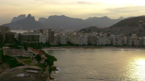 Aerial shot of one of Rio de Janiero's beach Footage