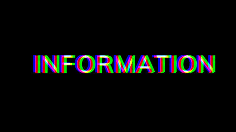 From the Glitch effect arises text INFORMATION. Then the... Stock Video Footage