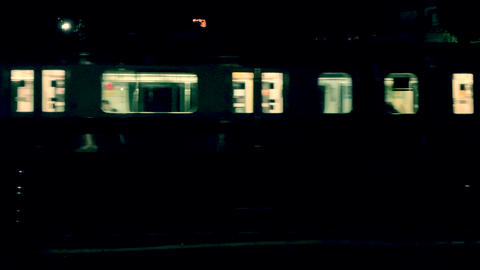 Night Train Crossing Footage