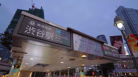 Shibuya station in Tokyo - a famous and popular place in the city - TOKYO, JAPAN Live Action