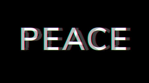 From the Glitch effect arises text PEACE. Then the TV turns off. Alpha channel Premultiplied - Animation