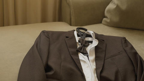 Stylish men's suit. Men's jacket on a mannequin. Men's Clothing. Mannequins in Footage
