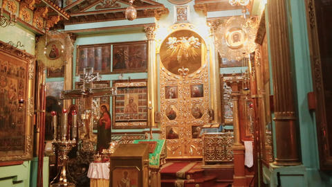 Church accessories inside the church Footage