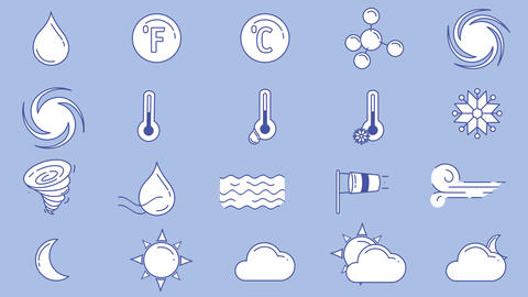 Icons of different weather in blue white colors on the alpha channel GIF
