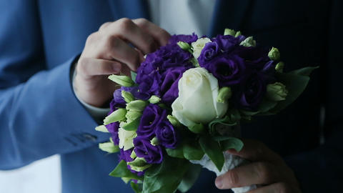 Bridal bouquet in an interior room, Bride's bouquet, camera movement along Footage