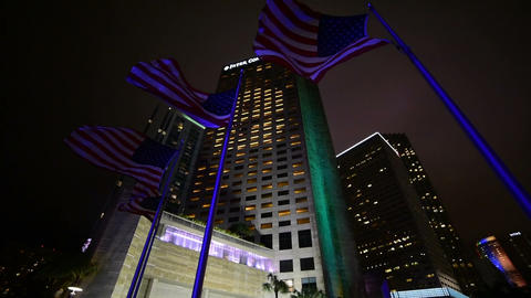 Flags and skyscrapers in Bayfront park at night Archivo