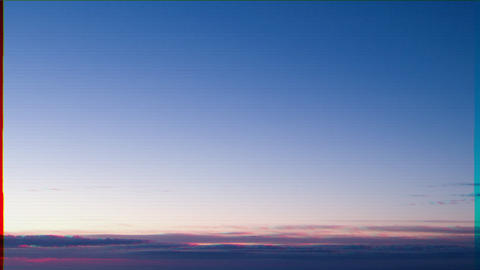 Glitch effect. Dawn over the coast of Sicily. Italy. Time Lapse Footage