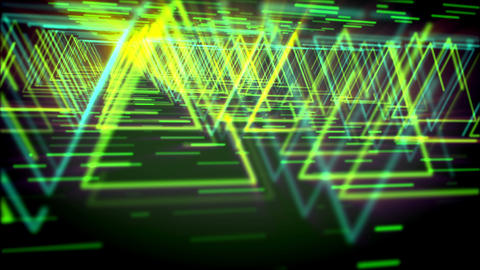 Abstract neon triangles flying fast Animation