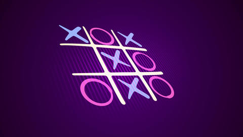 Noughts and crosses match in violet backdrop Animation