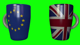 Coffee cup clink between EU and UK - 3d looping animation on green Footage