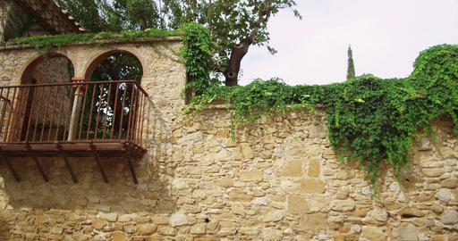 Balcony in a medieval stone wall Footage