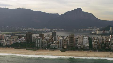 Aerial panning shot of Rio de Janeiro and the ipanema beach Live Action