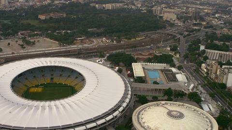 Aerial shot of city surrounding Maracanã Stadium - Rio de Janeiro, Brazil Footage