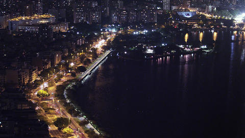 Panning shot of Rio cityscape at night in Rio de Janeiro, Brazil Live Action