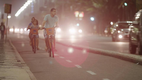 Shot of biking lane separated by median in Rio Footage