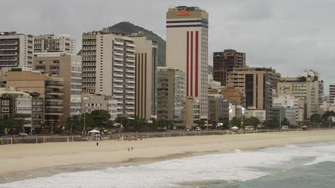 Slow pan of cityscape near the beach in Rio de Janeiro, Brazil Footage