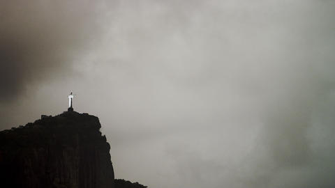 Distant shot of Christ the Redeemer statue in Rio de Janeiro, Brazil Footage