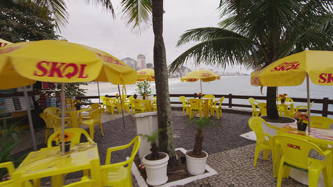 RIO DE JANEIRO, BRAZIL - JUNE 23: Slow dolly shot of outdoor restaurant on June  Footage