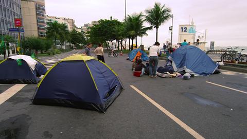 RIO DE JANEIRO, BRAZIL - JUNE 23: Slow dolly shot crowd on street on June 23, 20 Footage