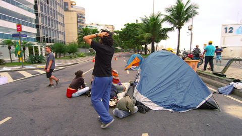 RIO DE JANEIRO, BRAZIL - JUNE 23: Slow dolly shot of protesters on June 23, 2013 Footage