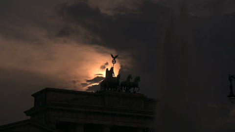 4K, Brandenburg Gate, Quadriga at Sunset, Berlin Footage