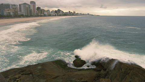 Slow motion of Brazilian coastline at Rio de Janeiro, Brazil Footage