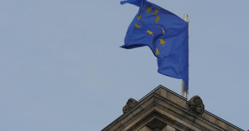 4K, Reichstag European Flag, CloseUp, Berlin Footage