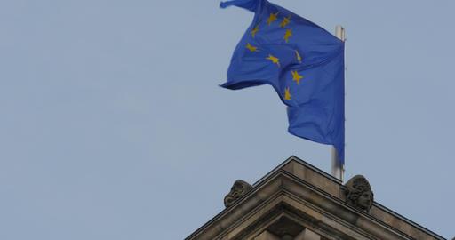 4K, Reichstag European Flag, CloseUp, Berlin Footage