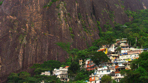 Long shot of a favela along the mountainside in Rio de Janeiro, Brazil Footage