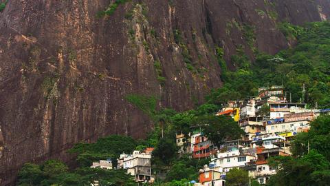 Long shot of a favela along the mountainside in Rio de Janeiro, Brazil Footage