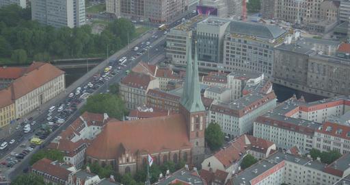 4K, View From Berlin TV Tower, Nikolai Church, Berlin Footage