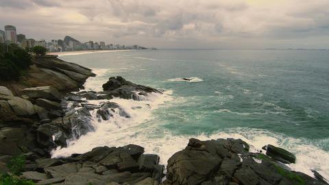 Slow motion shot of horizon from the rocky coastline of Rio de Janeiro, Brazil Footage