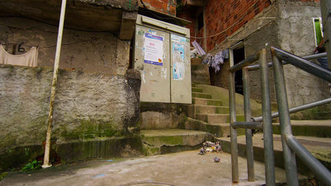 Climbing the stairs in a favela in Rio de Janeiro, Brazil in slow motion Footage
