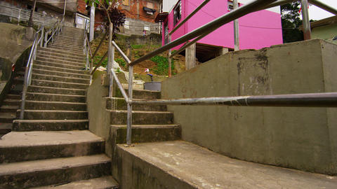 Slow pan of favela structures in Rio de Janeiro, Brazil Footage